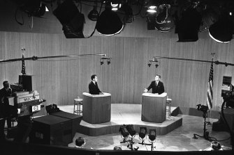 Vice-President Richard Nixon (left) and Senator John F. Kennedy in their fourth and final presidential debate in New York in 1960.