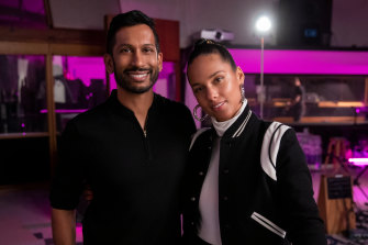 Hrishikesh Hirway and Alicia Keys on the Song Exploder set.