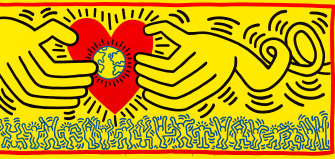 A detail from Keith Haring's Untitled (1985).