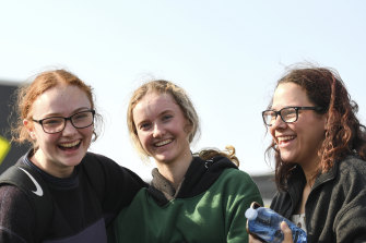 16-year-old friends Emily Wellington, Tahnee Meehan and Darcy Brown following their journey on the MV Sycamore.