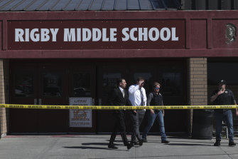 Officers outside Rigby Middle School after the shooting on Thursday.