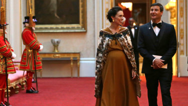 Jacinda Ardern and her partner Clarke Gayford at Buckingham Palace in London for a Commonwealth Heads of Government dinner in April.
