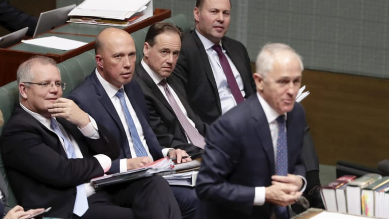Malcolm Turnbull and his frontbench on Monday.