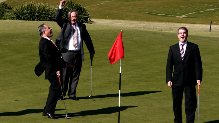The then premier Morris Iemma, left, announces the securing of the Australian Open Golf  at NSW Golf Course with Chris Gordon, president of NSW Golf Club and Michael Daley, right.