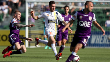Learning the ropes: Central Coast Mariners midfielder Aiden O'Neill, on loan from Burnley this season.