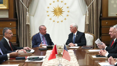 Turkish President Recep Tayyip Erdogan and Mike Pence met to negotiate a ceasefire in Syria.
