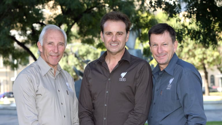 Paul Sherwen, right, with Phil Liggett and Mike Tomalaris in 2011.