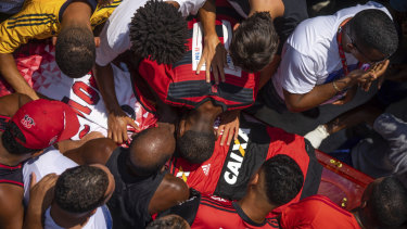 Hundreds of grief-stricken people attended the funeral of 15-year-old goalkeeper Christian Candido.