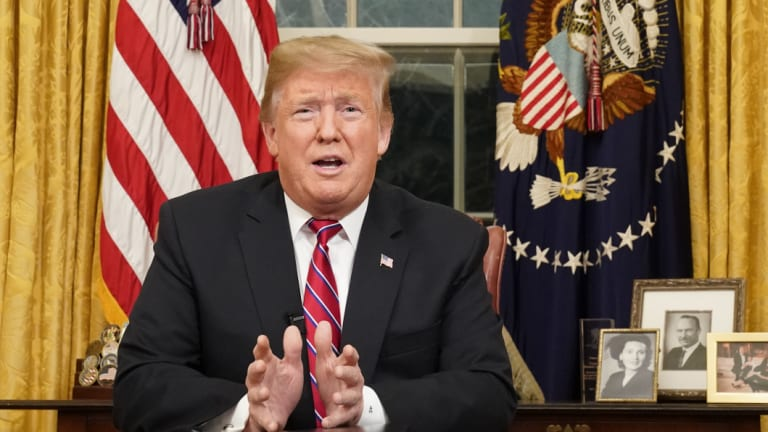 President Donald Trump speaks from the Oval Office of the White House as he gives a prime-time address about border security on Thursday.