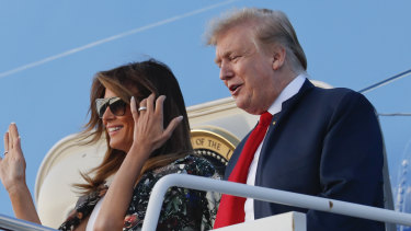 President Donald Trump and first lady Melania Trump arrive at Palm Beach to spend the Easter weekend as his Mar-a-Lago estate.