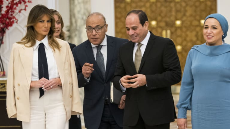 US First Lady Melania Trump meets Egypt's President Abdel-Fattah el-Sissi and his wife Entissar Mohameed Amer at the Presidential Palace in Cairo, Egypt, on October 6.
