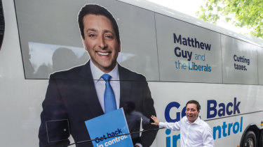 Opposition leader Matthew Guy and his campaign bus.