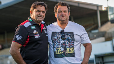 Nicky Winmar and the photographer that took the iconic photo, Wayne Ludbey, in 2018.