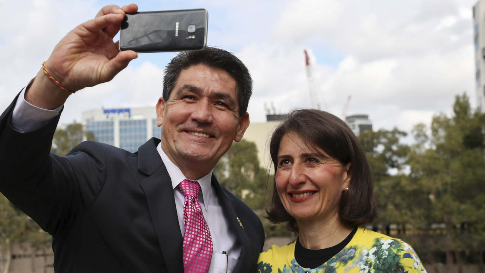 The Member for Parramatta, Geoff Lee, takes a selfie with Premier Gladys Berejiklian.