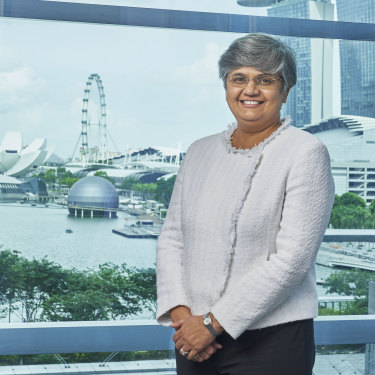 Chief commercial officer Vandita Pant at BHP offices in Marina Bay Financial Centre, Singapore.