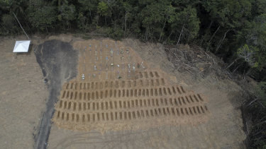 Freshly dug graves are seen at the Nossa Senhora Aparecida cemetery amid the new coronavirus pandemic in Manaus, Amazonas state, Brazil. The tropical city of 2.1 million has recorded the highest number of deaths in the country.