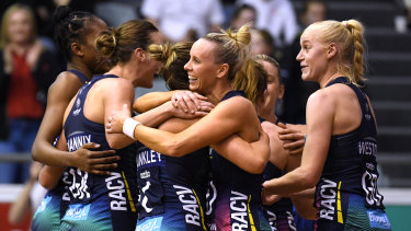 Melbourne Vixens celebrate their knock-out semi-final win over arch rivals Collingwood Magpies last weekend.
