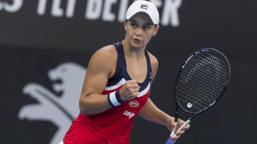 Ace: Ash Barty used her powerful serve to prevail over Belgium's Elise Mertens.