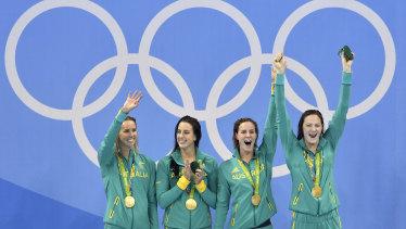 Australia's winning 4x100m freestyle swim team in Rio.