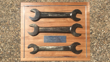The 'indestructible' set of spanners made from car leaf springs by Kevin Graham's dad Stan.