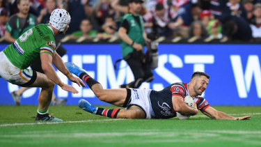 James Tedesco goes over for the premiership-winning try, just one of his many accolades this season.