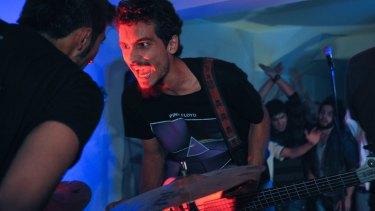 Qasem Foushanji, lead singer of District Unknown, at Hoodies Undergound club in Qala Fatullah, Kabul, October 2011.