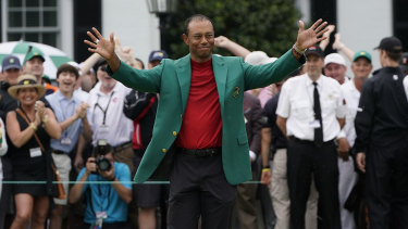 Tiger Woods celebrates after winning the Masters golf tournament.