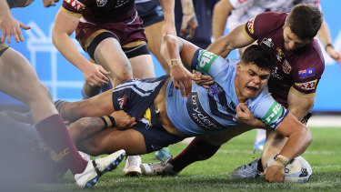 Latrell Mitchell dominated Queensland in game one at the MCG in 2018.