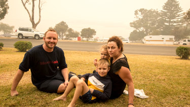 Tim Buckley, Meaghan Wegg and children Jackson and Georgia are stranded in Mallacoota.