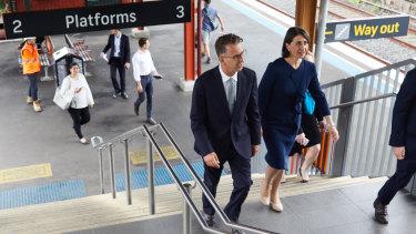 Transport Minister Andrew Constance and Premier Gladys Berejiklian at Sydenham station on Wednesday.
