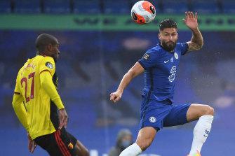 Olivier Giroud in action against Watford.