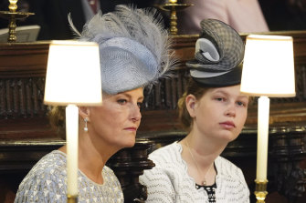 Sophie, the Countess of Wessex and Lady Louise Windsor during Prince Harry and Meghan Harry's wedding in 2018.