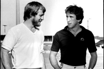 Those were the days: Tom Raudonikis and Steve Mortimer in 1981.
