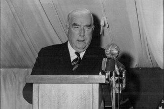 Robert Menzies speaks in 1961.