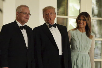 Scott Morrison with President Donald Trump and Melania Trump at a state dinner in 2019.