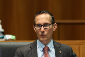 Committee deputy chair Andrew Leigh questions the governor of the Reserve Bank of Australia during an appearance before the Standing Committee on Economics at Parliament House in Canberra on February 5.