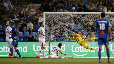 Pick that out: Jets striker Roy O'Donovan, left,  wheels away as his rasping shot hits the back of Vedran Janjetovic's net.