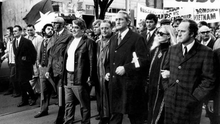 Front row of the giant anti-Vietnam War moratorium march in Melbourne, on May 8, 1970.  Jean McLean is second from right, flanked by politicians Clyde Holding, right,  and Tom Uren left.
