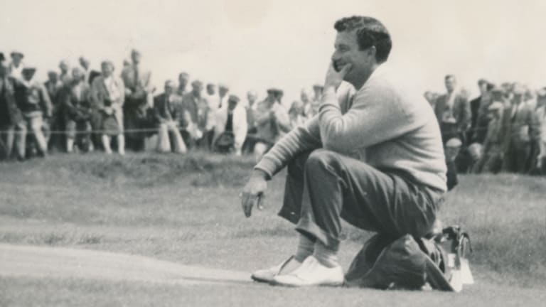Satisfied smile: Peter Thomson after sinking a long putt during the final round of the 1958 British Open.