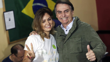 Jair Bolsonaro and his wife Michelle.