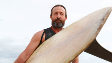 Simon Maltby, Byron Bay with his 50-year-old mal, isn't for or against leg ropes.