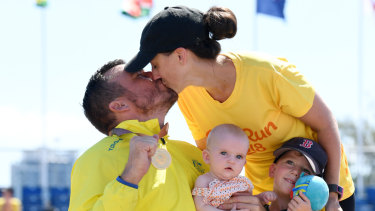 Kurt Fearnley with his wife and children: gone to Disneyland.