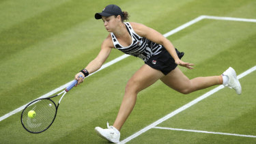 Never say die: Barty reaches for a forehand in the final.