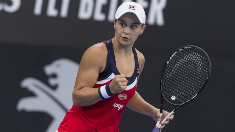 Ace: Ash Barty used her powerful serve to prevail over Belgium's Elise Mertens in the Sydney International quarter finals.
