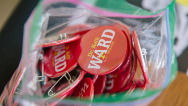Campaign buttons for Kelli Ward, Republican US Senate candidate from Arizona.