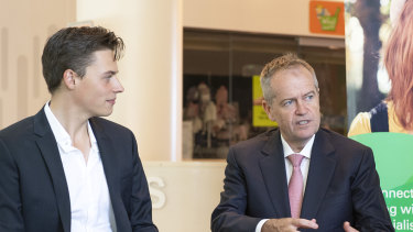 Labor's candidate for Melbourne Luke Creasey (left) and Opposition Leader Bill Shorten during a visit to the Royal Children's Hospital last month.