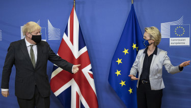 British PM Boris Johnson with European Commission President Ursula von der Leyen in Brussels.
