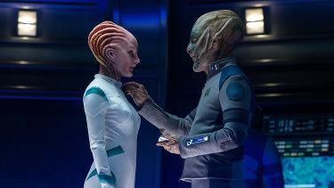 Star Trek fanatic Bezos, right, as a Starfleet official in Star Trek Beyond.