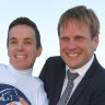 Trainer Bjorn Baker and jockey Tim Clark celebrate Samadoubt's success on Saturday.