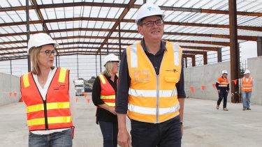 Victorian Premier Daniel Andrews and Transport Minister Jacinta Allan (left) tour the West Gate Tunnel site in December 2018.